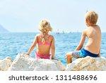 children girl and boy  siblings ... | Shutterstock . vector #1311488696