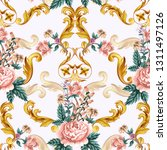 seamless pattern with roses and ... | Shutterstock .eps vector #1311497126