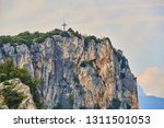 aerial view on the cross on the ... | Shutterstock . vector #1311501053