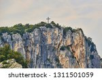aerial view on the cross on the ... | Shutterstock . vector #1311501059