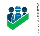 worker builder safety sign with ... | Shutterstock .eps vector #1311527060