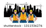 workers or builder in front of... | Shutterstock .eps vector #1311536276