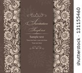 Stock vector wedding invitation cards baroque style brown and beige vintage pattern damascus style ornament 131155460