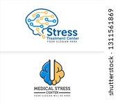 blue yellow line art brain... | Shutterstock .eps vector #1311561869