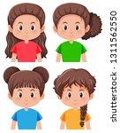 set of brunette girl character... | Shutterstock .eps vector #1311562550
