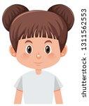 a brunette bun girl illustration | Shutterstock .eps vector #1311562553