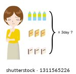 woman suffering from the number ... | Shutterstock .eps vector #1311565226