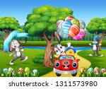 happy easter rabbit riding a... | Shutterstock . vector #1311573980