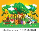 Stock vector vector illustration with cute forest animals 1311582890