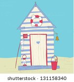 colorful beach hut vector | Shutterstock .eps vector #131158340