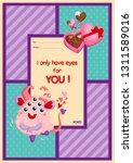 a card of cute fluffy pink... | Shutterstock .eps vector #1311589016
