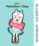 valentines day on retro pattern ... | Shutterstock .eps vector #1311591716