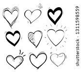 heart doodle set icon vector | Shutterstock .eps vector #1311598559
