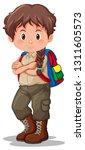 a brunette boy scout... | Shutterstock .eps vector #1311605573