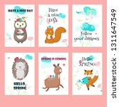 vector set of spring cards with ... | Shutterstock .eps vector #1311647549