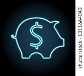 piggy bank neon icon. simple...