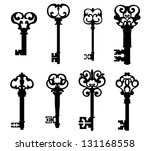 old keys set with decorative... | Shutterstock .eps vector #131168558