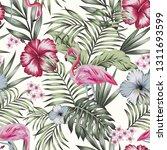 beautiful tropical bird pink... | Shutterstock .eps vector #1311693599
