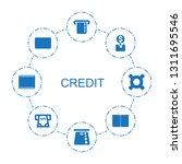 credit icons. trendy 8 credit... | Shutterstock .eps vector #1311695546