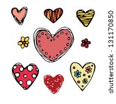 ornate sketch hearts. hand...   Shutterstock .eps vector #131170850