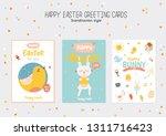 happy easter poster in vector.... | Shutterstock .eps vector #1311716423