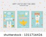 happy easter poster in vector.... | Shutterstock .eps vector #1311716426