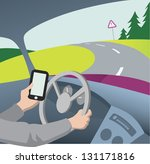 using mobile phone while... | Shutterstock .eps vector #131171816