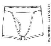 vector sketch men pants. boxier ... | Shutterstock .eps vector #1311737159