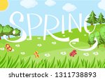 spring cartoon landscape with... | Shutterstock .eps vector #1311738893