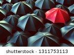 red umbrella between black ones ... | Shutterstock . vector #1311753113