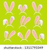 Stock vector easter bunny ears mask vector illustration hare ears cartoon easter rabbit or bunny ears band for 1311793349