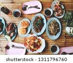 papaya slad set  thai street...   Shutterstock . vector #1311796760