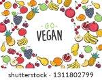 set of colorful cartoon fruit... | Shutterstock .eps vector #1311802799