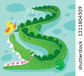 crocodile and bird funny kid... | Shutterstock .eps vector #1311804509
