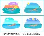 backstroke and breaststroke ... | Shutterstock .eps vector #1311808589