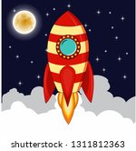 rocket goes up in the sky with... | Shutterstock . vector #1311812363