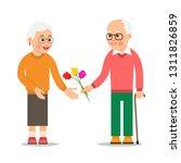 elderly man giving flowers to...   Shutterstock .eps vector #1311826859