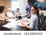 happy business colleagues in...   Shutterstock . vector #1311834410