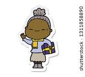 sticker of a cartoon peaceful... | Shutterstock .eps vector #1311858890