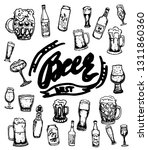 set of beer objects. hand drawn ...   Shutterstock .eps vector #1311860360