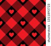 hearts buffalo check plaid... | Shutterstock .eps vector #1311893723