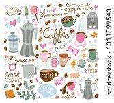 coffee vector set. doodle... | Shutterstock .eps vector #1311899543
