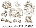 set of food. top view.   Shutterstock .eps vector #1311903200