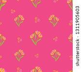 pink tulips seamless vector...   Shutterstock .eps vector #1311905603