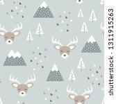 reindeer seamless pattern... | Shutterstock .eps vector #1311915263