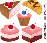 set of cakes  cheesecakes and... | Shutterstock .eps vector #1311930293
