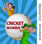 batswoman and bowler playing... | Shutterstock .eps vector #1311934406