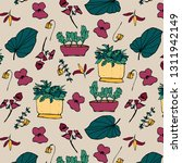 plants and pots vector pattern  ... | Shutterstock .eps vector #1311942149
