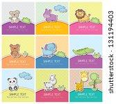 Stock vector cute wild animals cards 131194403