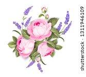 blooming spring flowers garland ... | Shutterstock .eps vector #1311946109